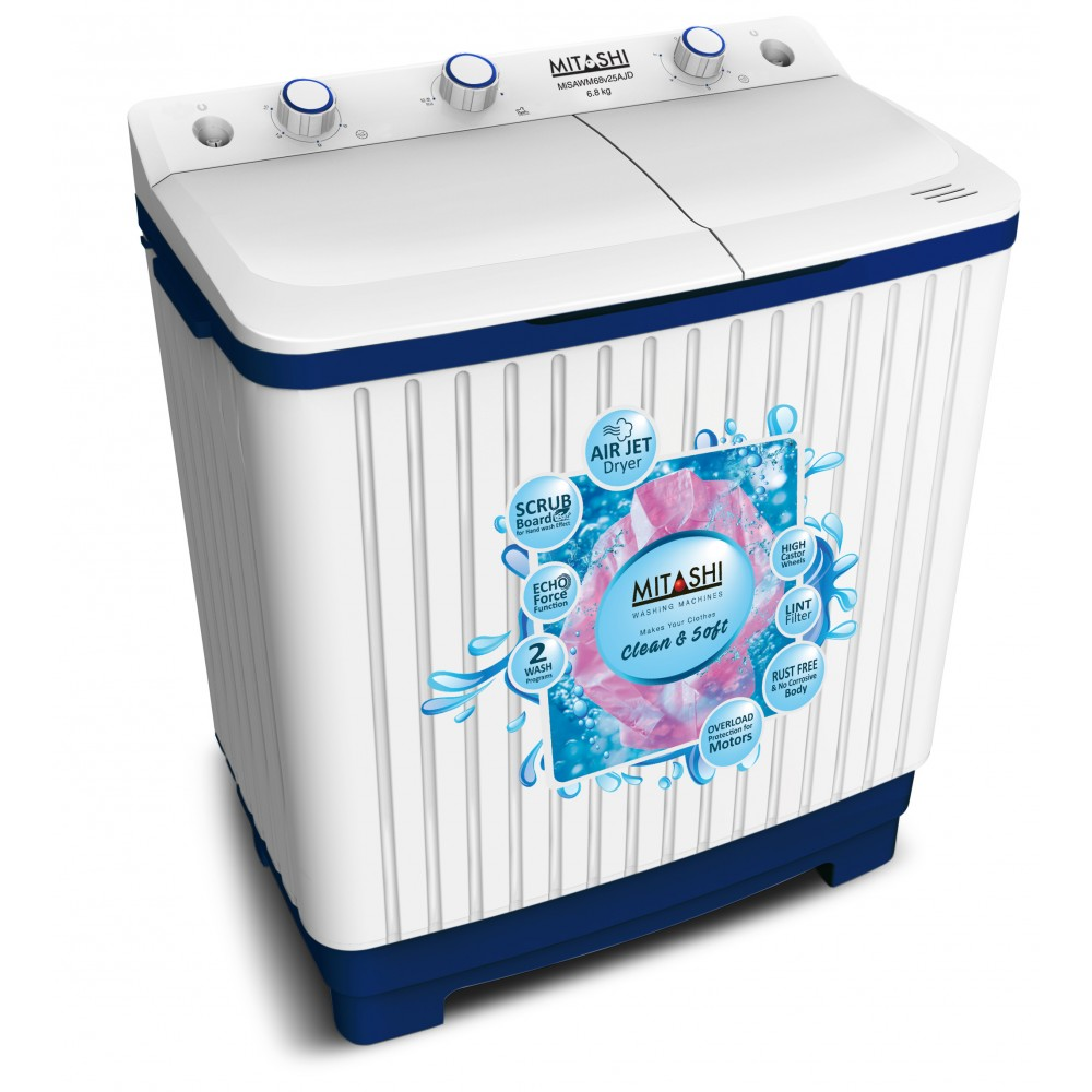 Mitashi 6 8 Kg Semi Automatic Top Loaded Washing Machine Wm68v25 Ajd With Air Jet Dryer And